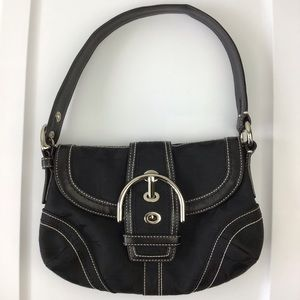 Coach Black Monogram Leather Hobo Handbag Purse